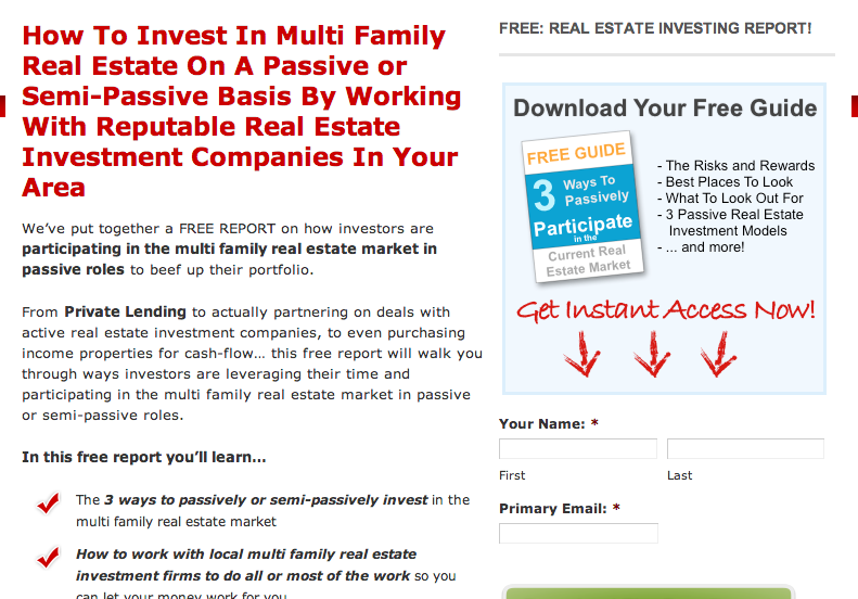 real estate investing squeeze page