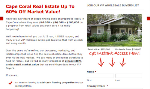 real estate investor squeeze pages