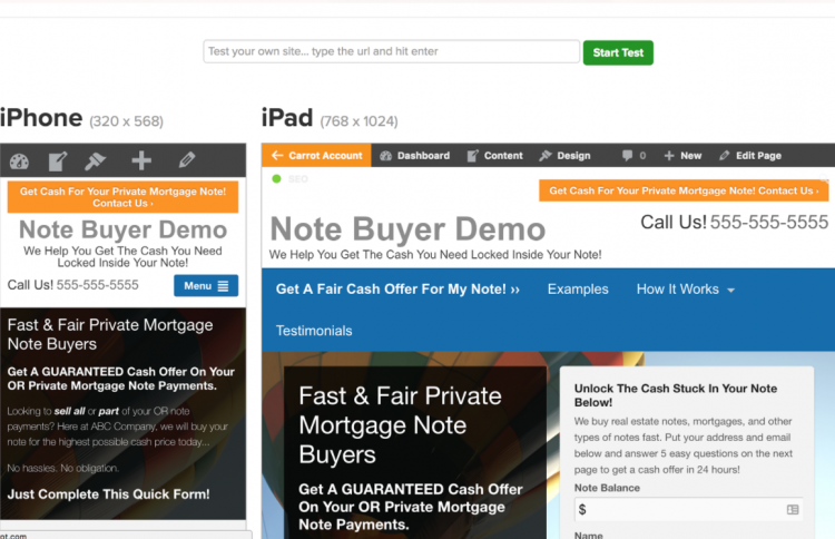 investorcarrot real estate investor mobile optimization test