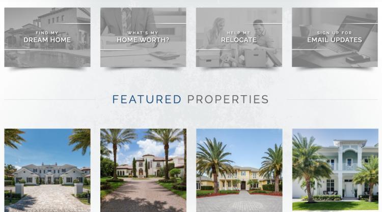 Real Estate Agent Websites featured properties listing menu