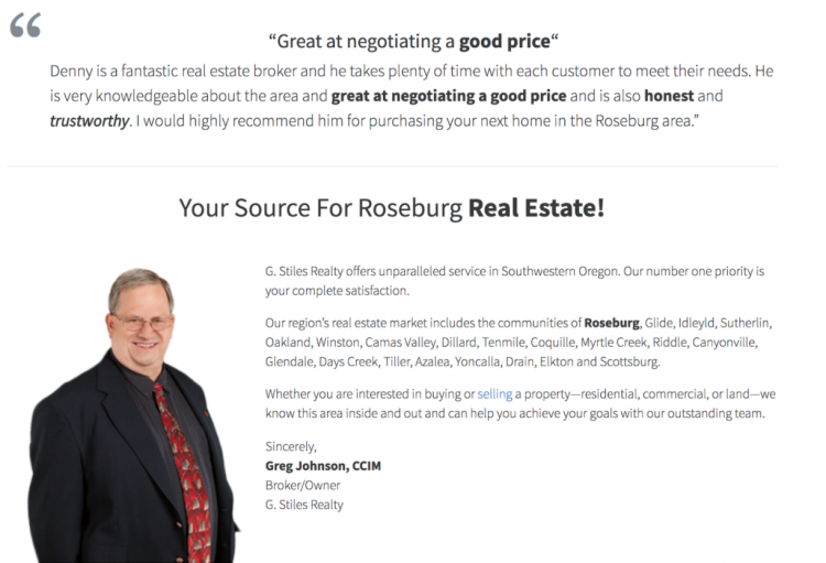 websites for realtors our company page