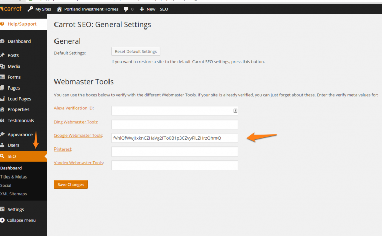 Add HTML Tag in SEO on Carrot Site