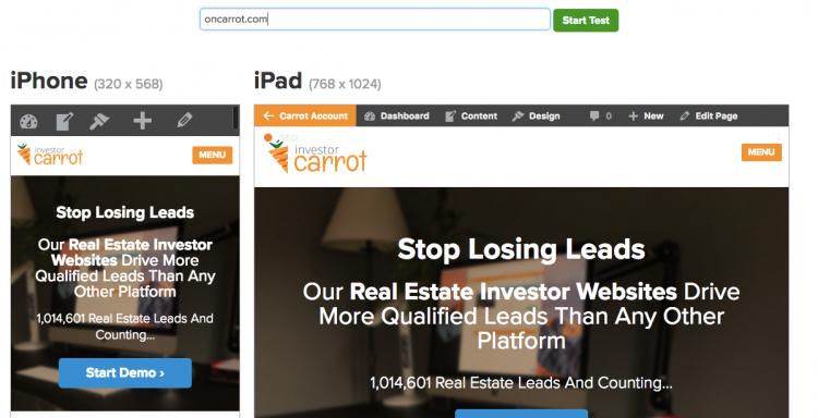 mobile-responsive real estate website test