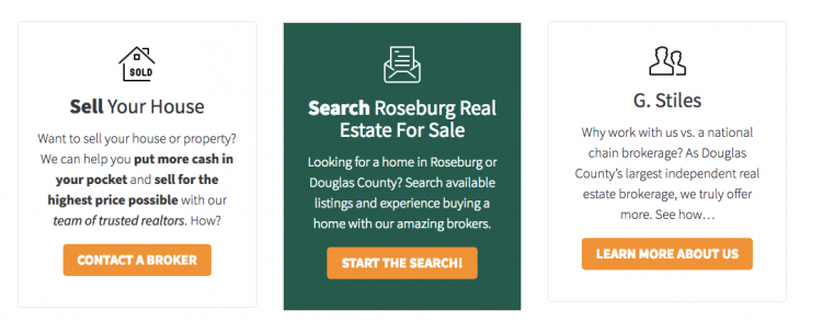 real estate agent website design CTA