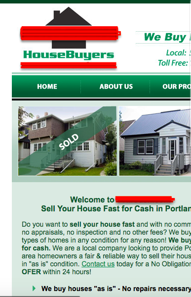 cluttered real estate website on mobile