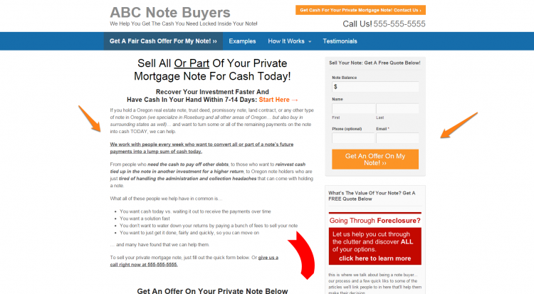 how to build a note buyer website