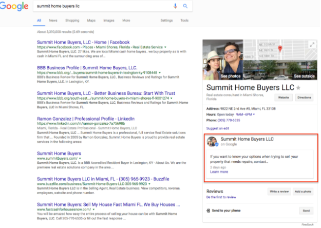 google my business post on search page
