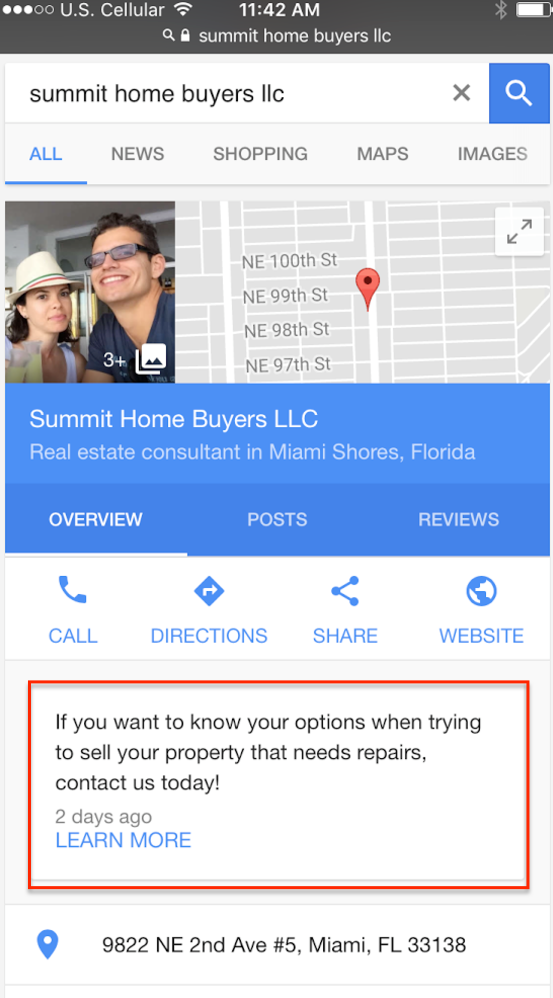 google my business posts on mobile