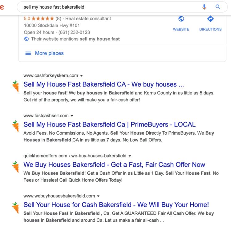 Carrot real estate website Organic Rankings
