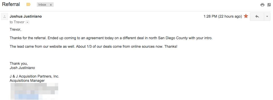 Carrot website deal testimonial