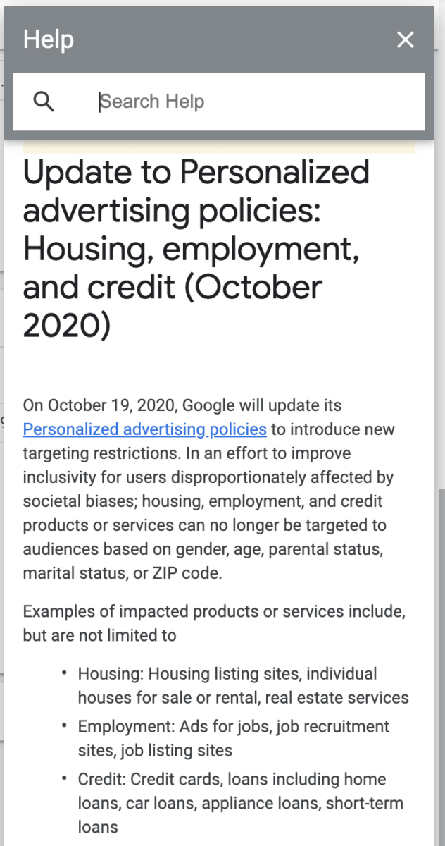 Google Ads Housing Policy notice in an account