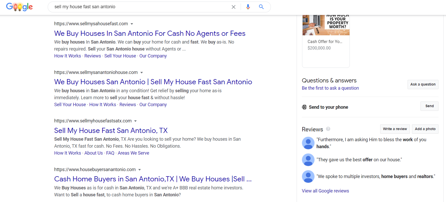 Google search results for sell my house fast san antonio