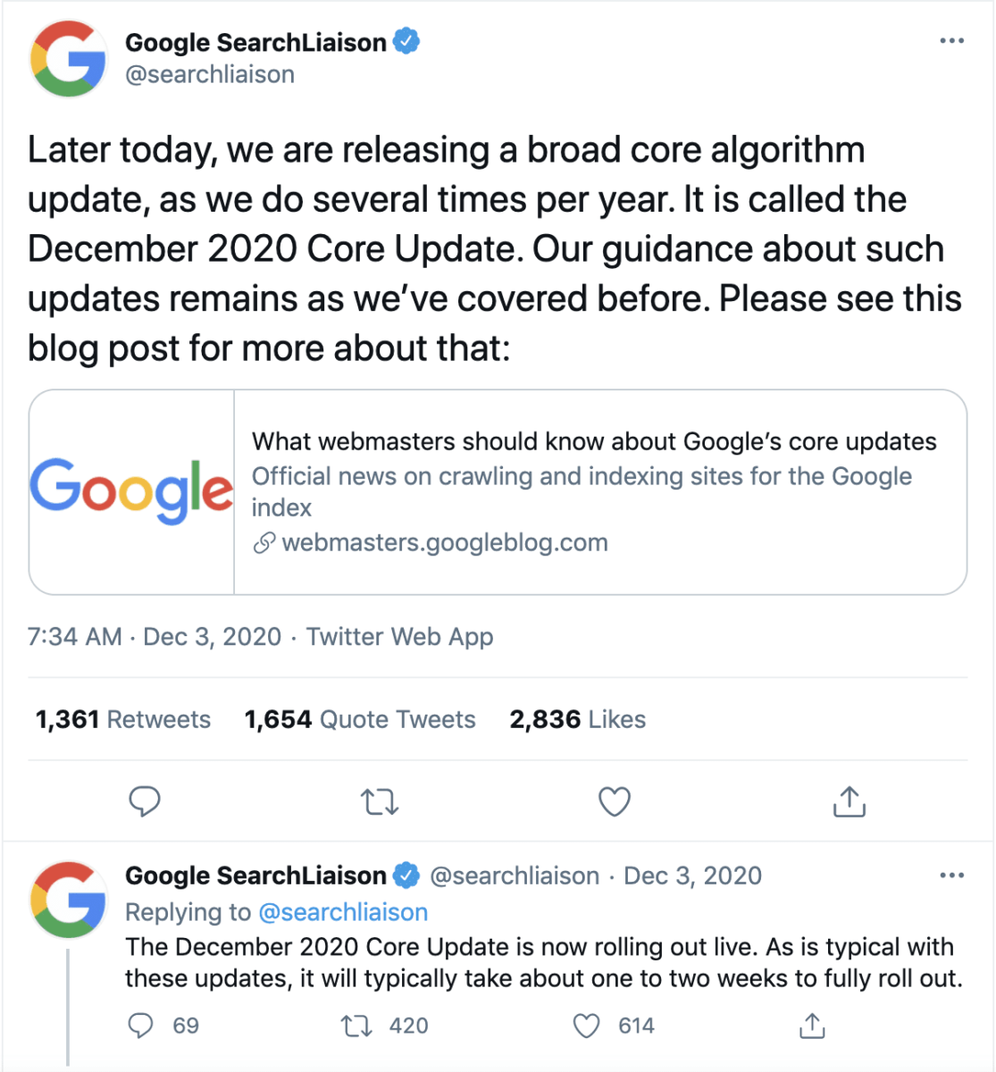 Google Core Algorithm Update - Search Liaison Twitter