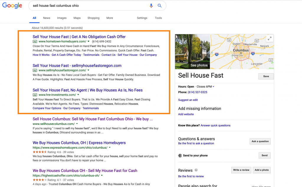 Google ads motivated seller search