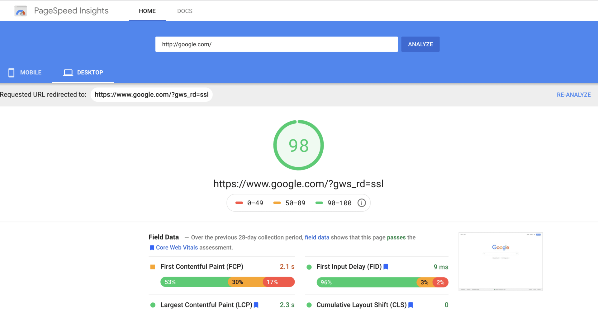 Google.com page speed