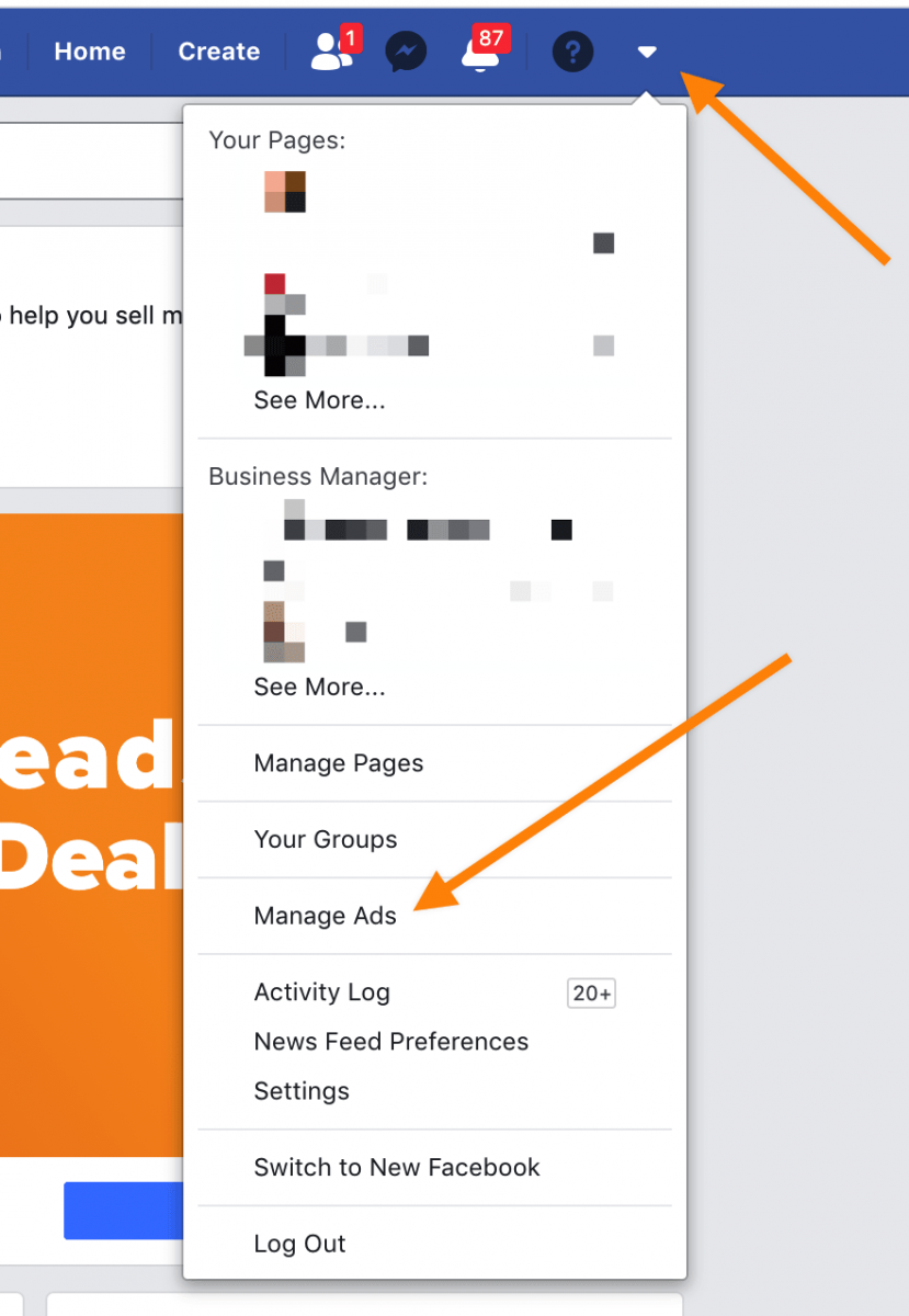 Facebook page manage ads