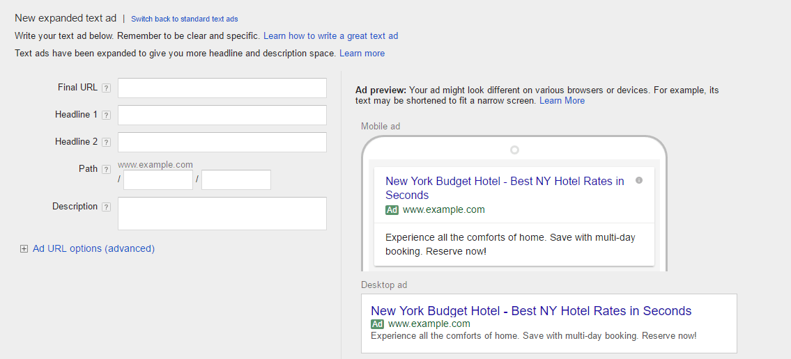 New AdWords Text Ad Layout