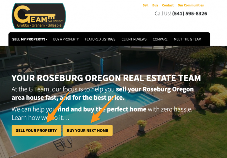 real estate website button cta