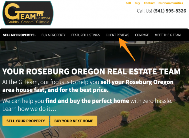 real estate agent website client reviews
