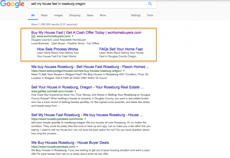 real estate agent adwords ad