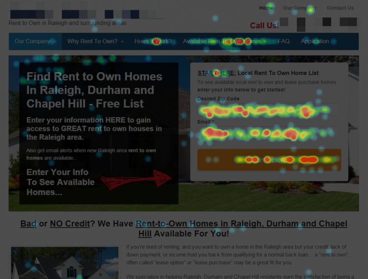 Rent To Own Homes In NC Heatmap