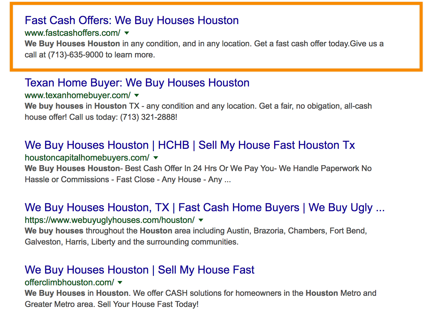 we buy houses houston seo ranking