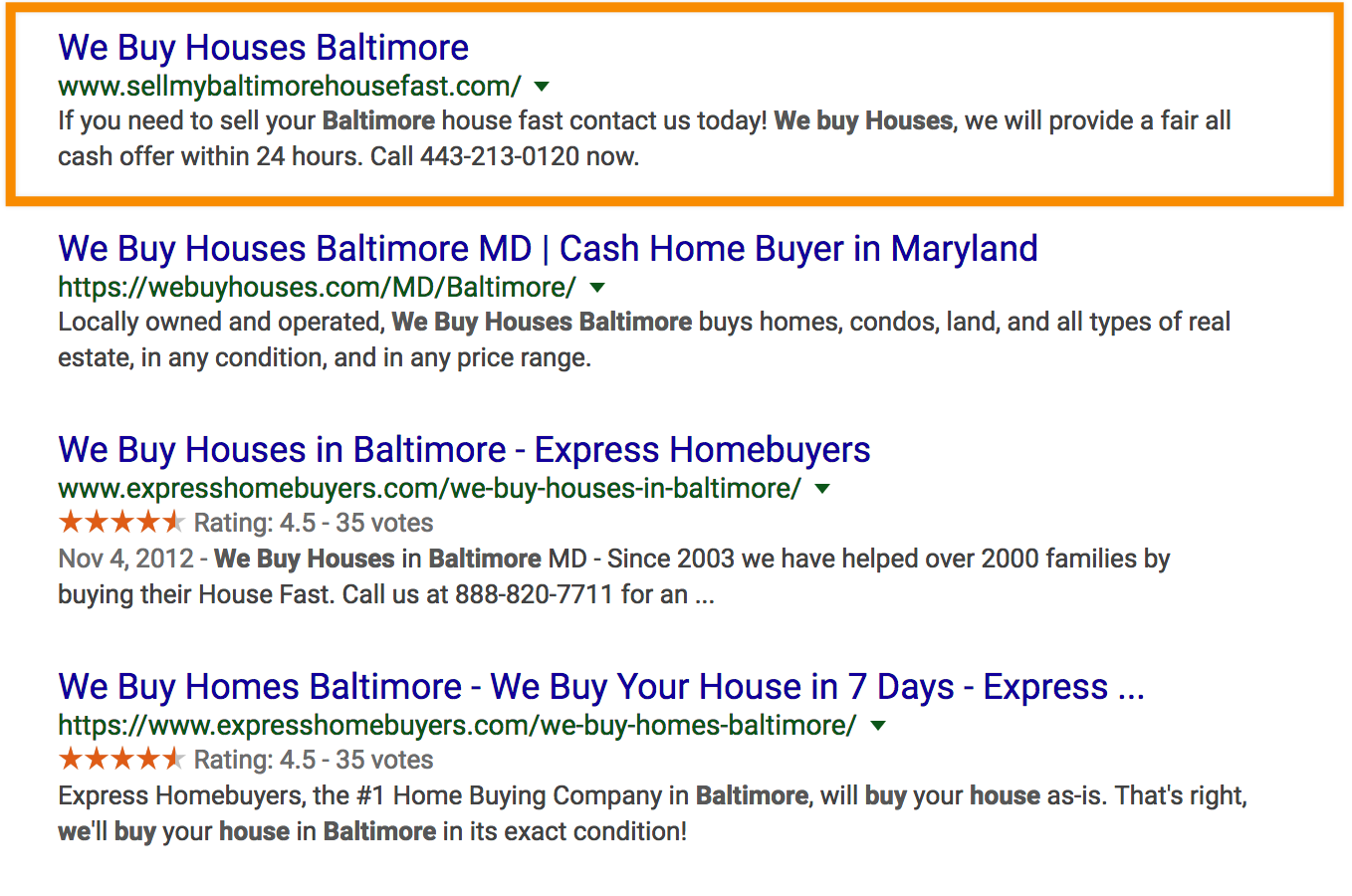 we buy houses baltimore seo results