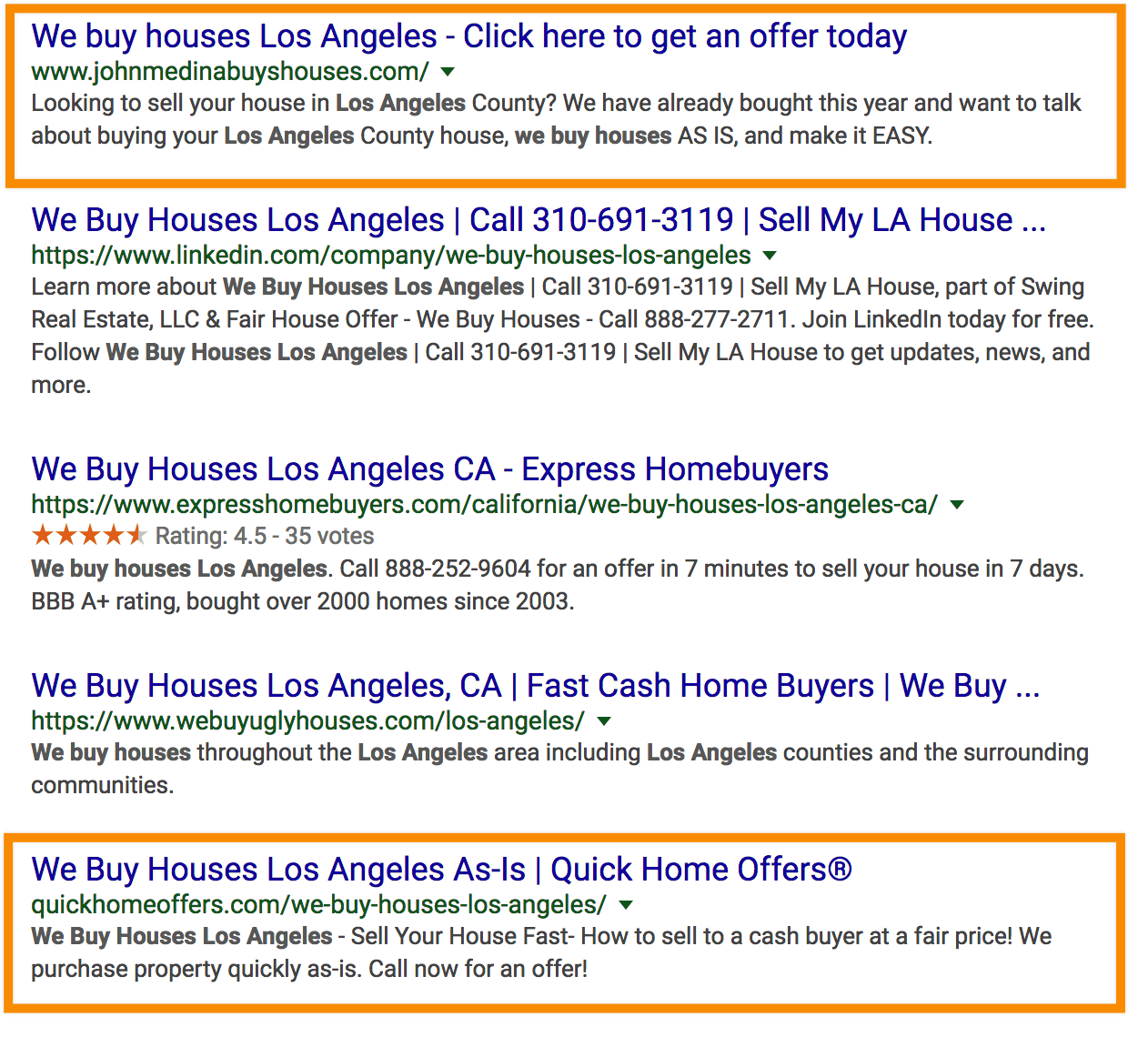 google organic we buy houses la rankings