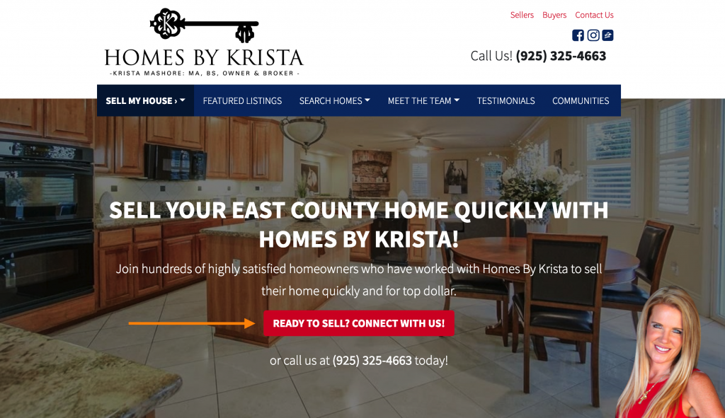 call to action button on a real estate website