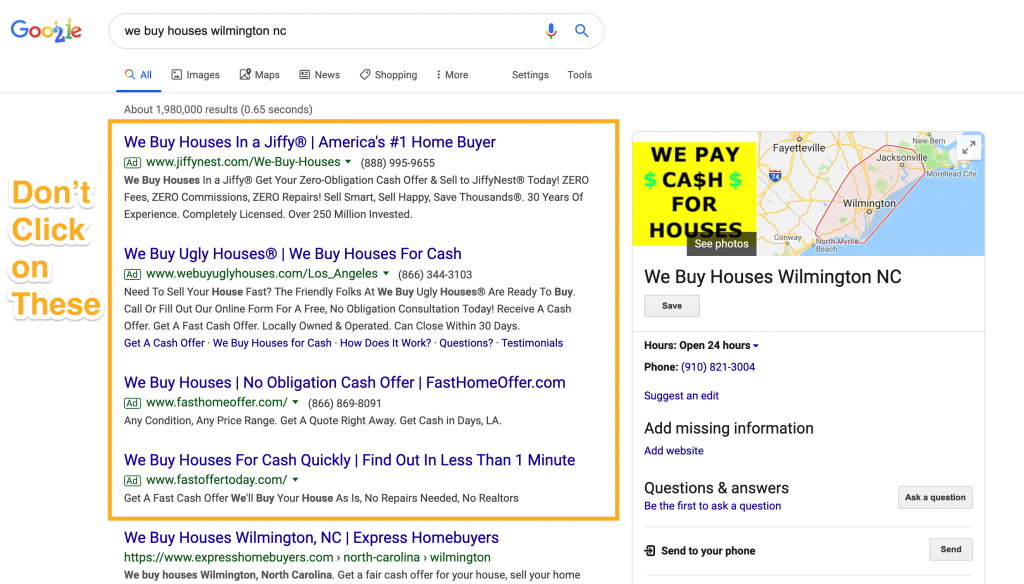 Finding Cash Buyers Searching On Google