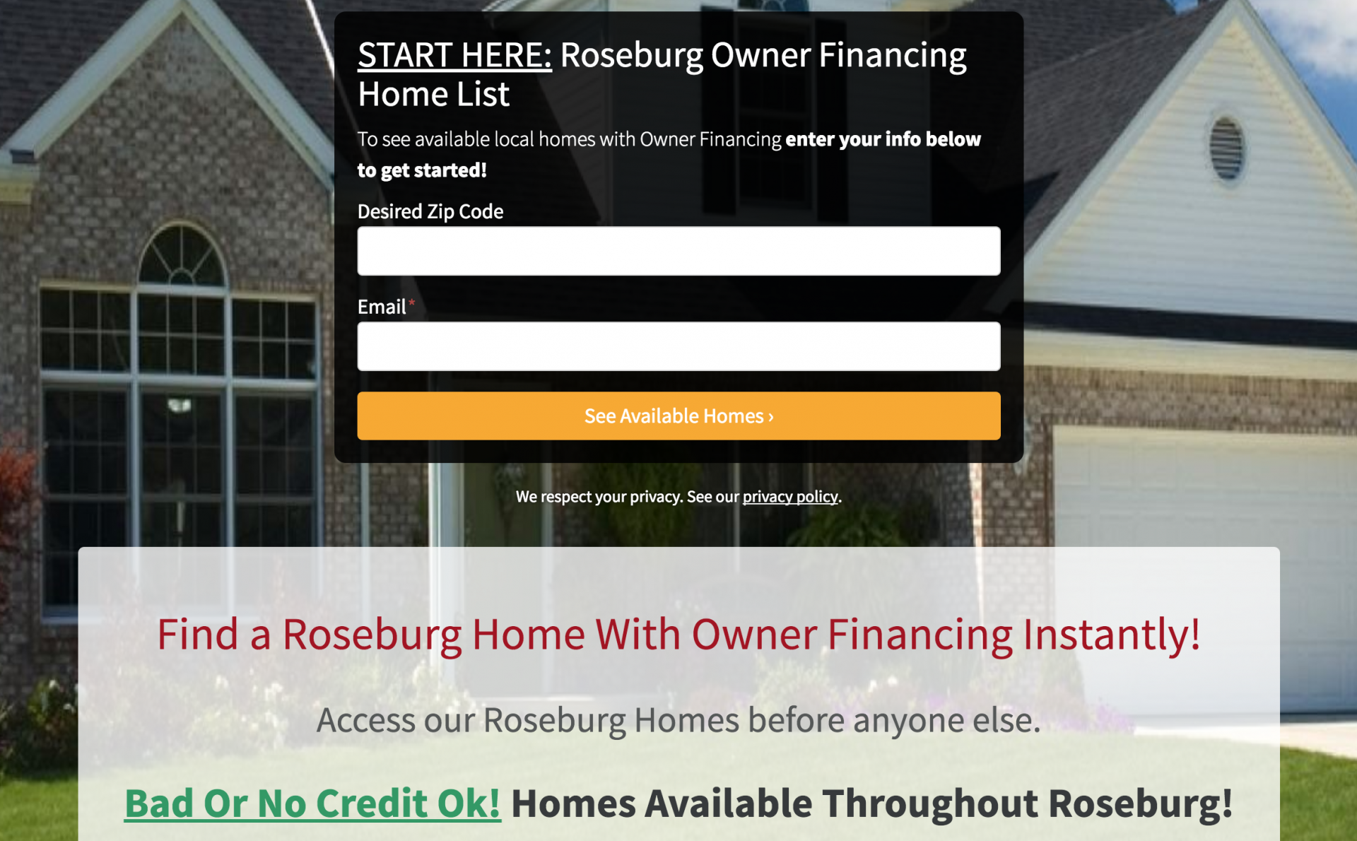 owner financing websites lead capture