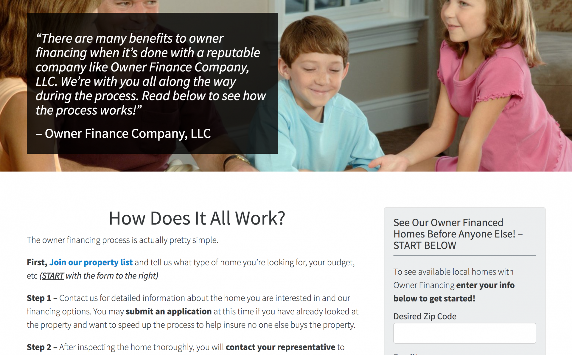 Owner Financing How It Works page
