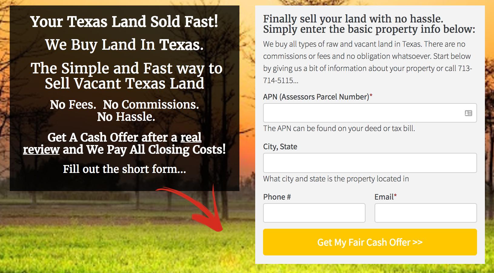 Land Seller Website Template lead form