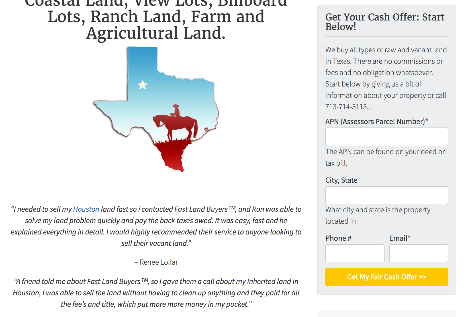 Motivated Land Seller Website Lead Form