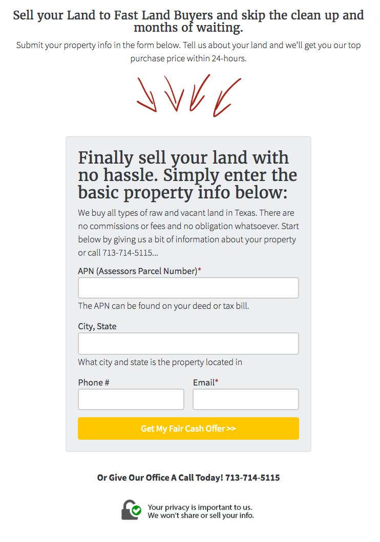 Land Seller Website APN Lead Form