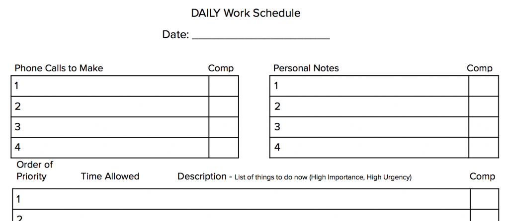 daily productivity worksheet