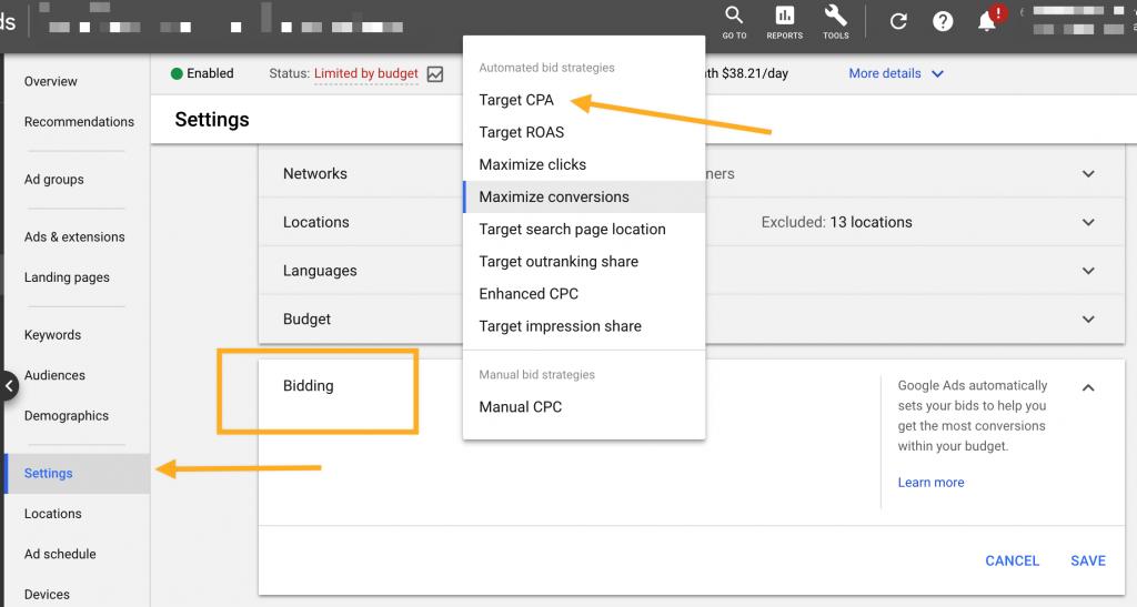Google Ads Target CPA Bidding Strategy
