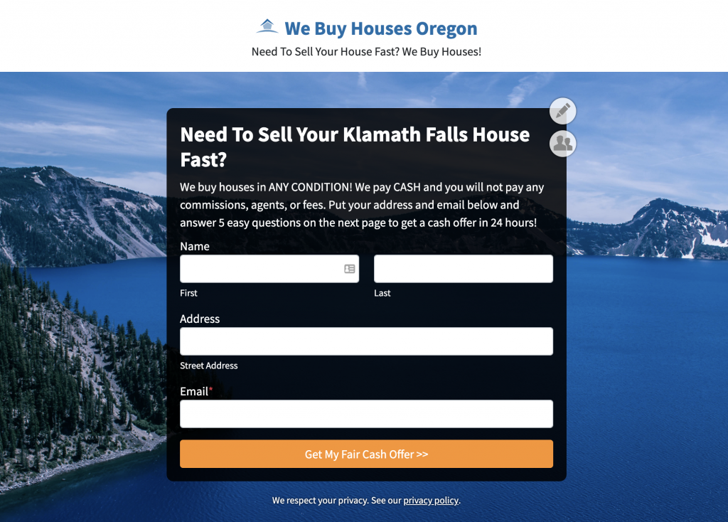 Real estate ppc landing page without a menu bar.