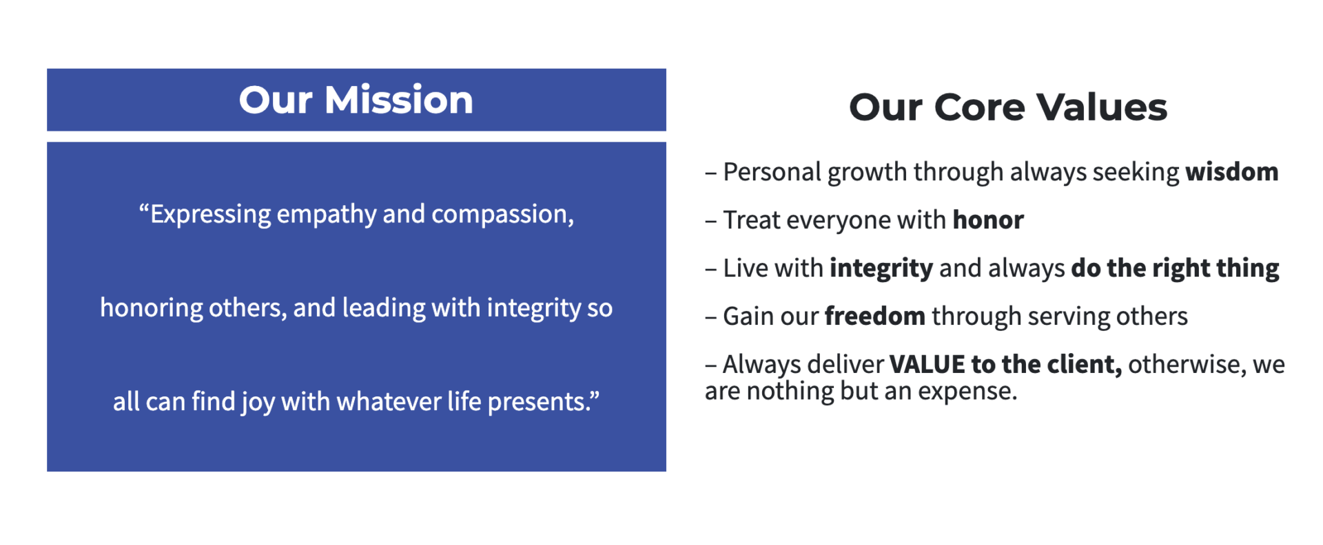 Real Estate Branding - Core Values