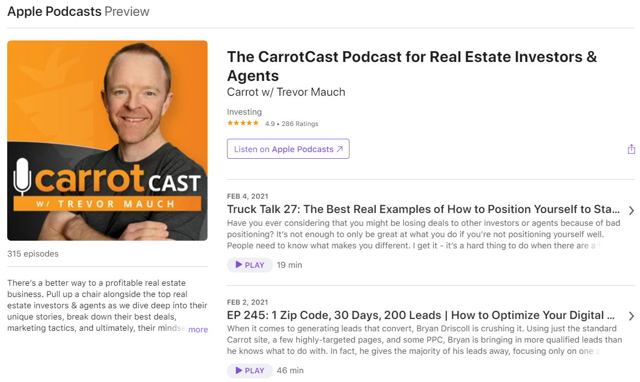 Real Estate Podcasts - CarrotCast