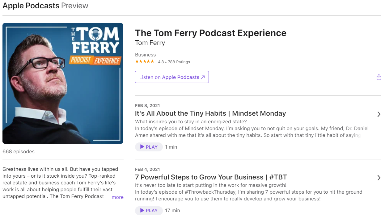 Tom Ferry Podcast Experience