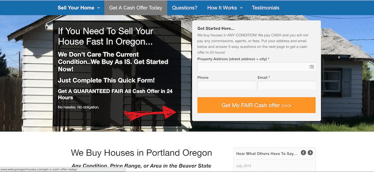 seo for real estate investors above the fold content
