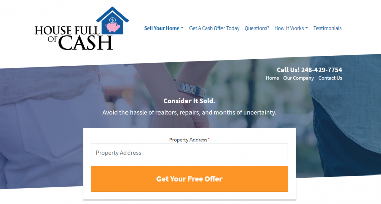 Carrot real estate investor website house full of cash