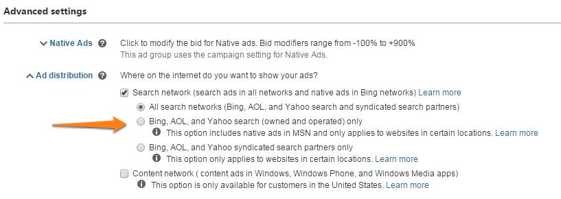 bing ads ad distribution