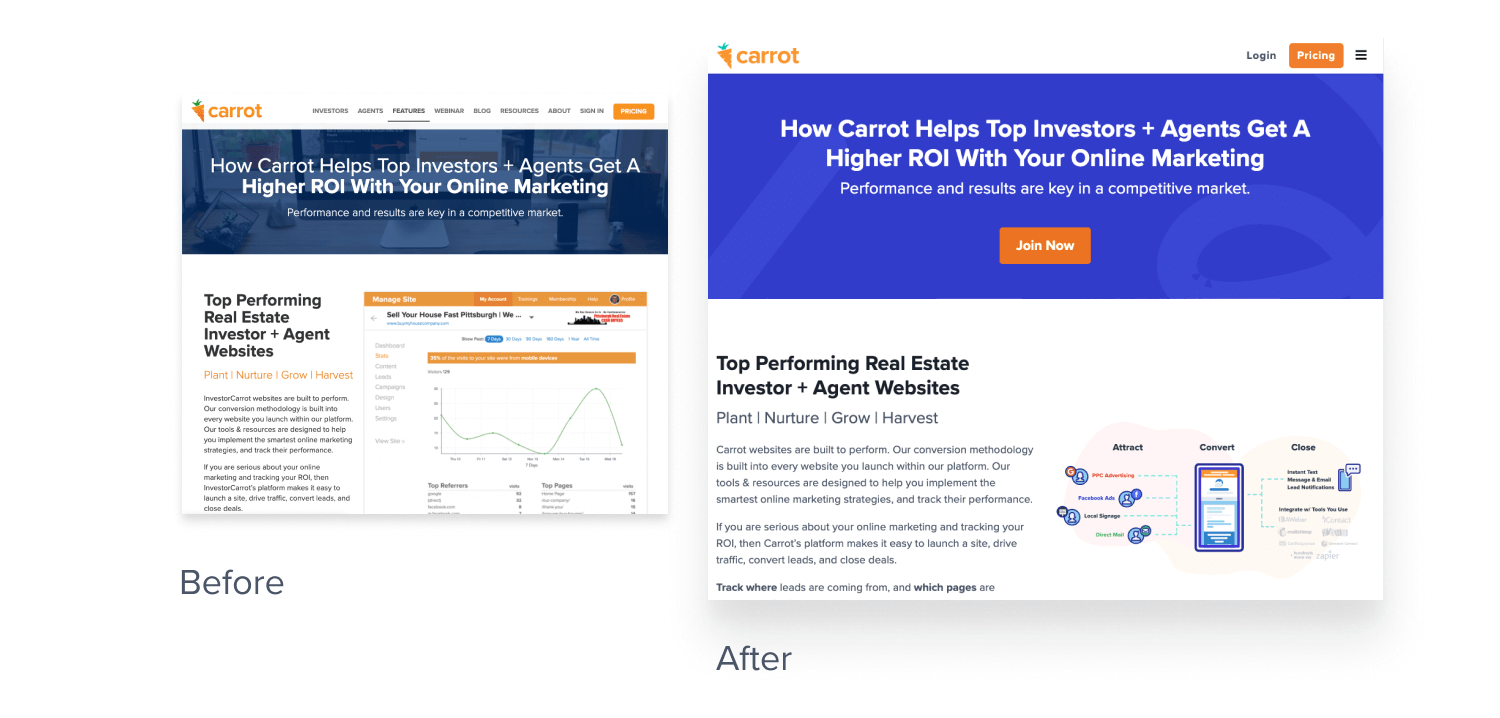 header rebrand before and after