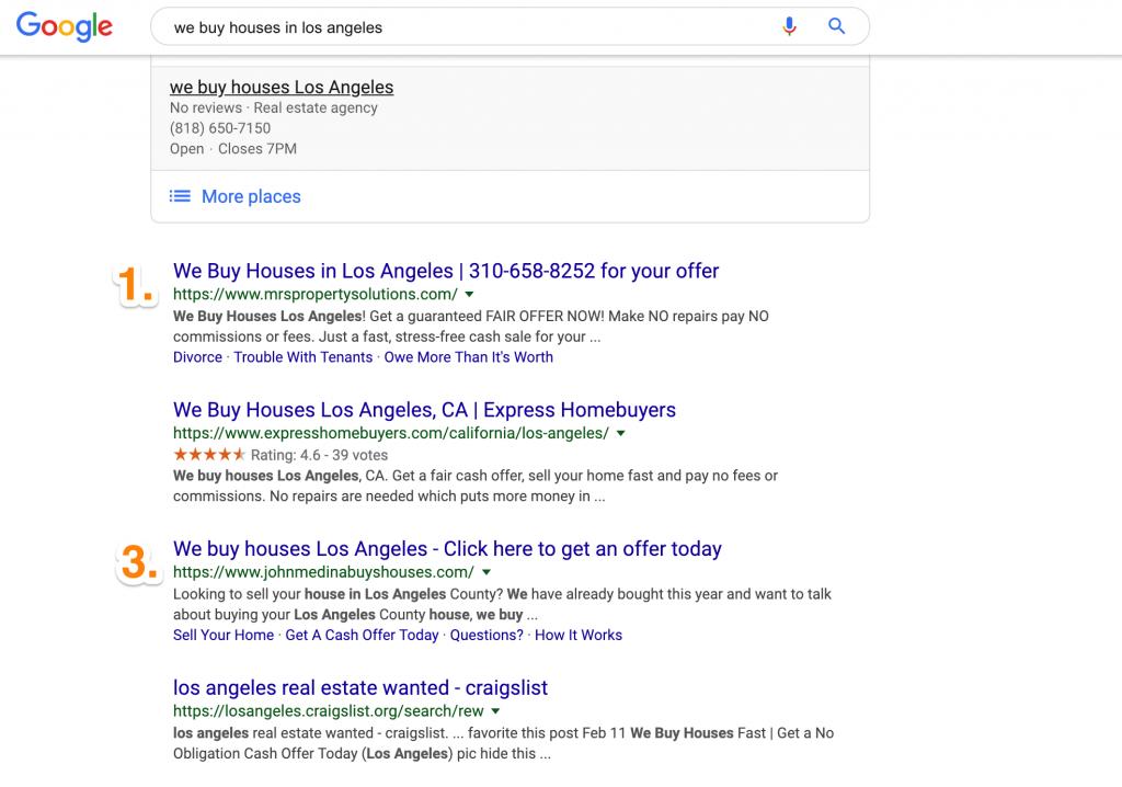 carrot members ranking high in google for we buy houses