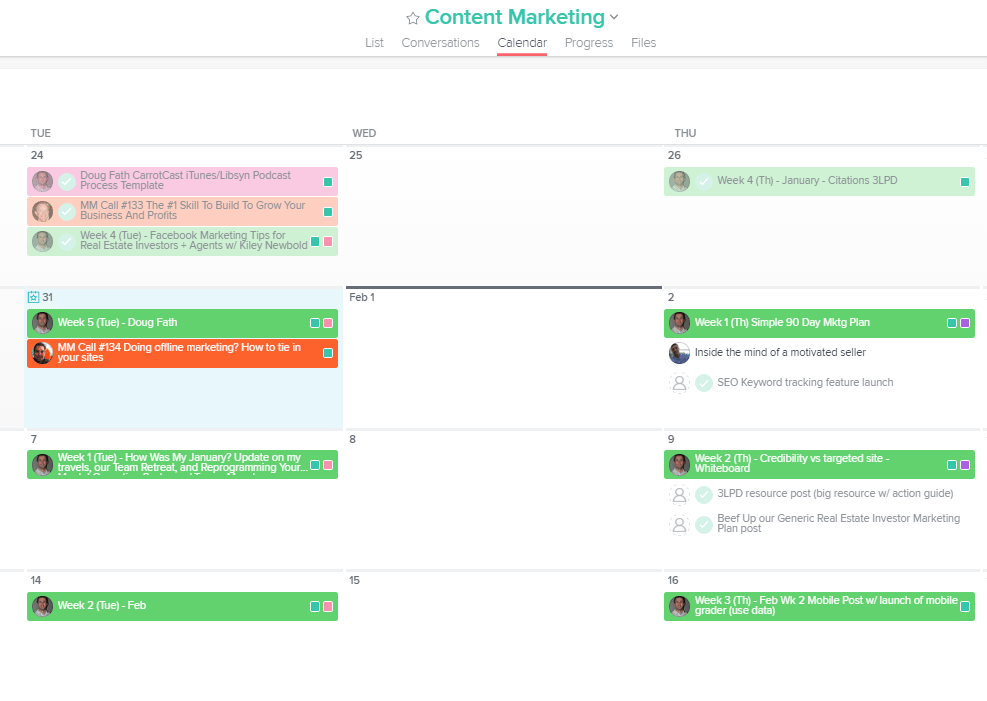 InvestorCarrot content marketing calendar