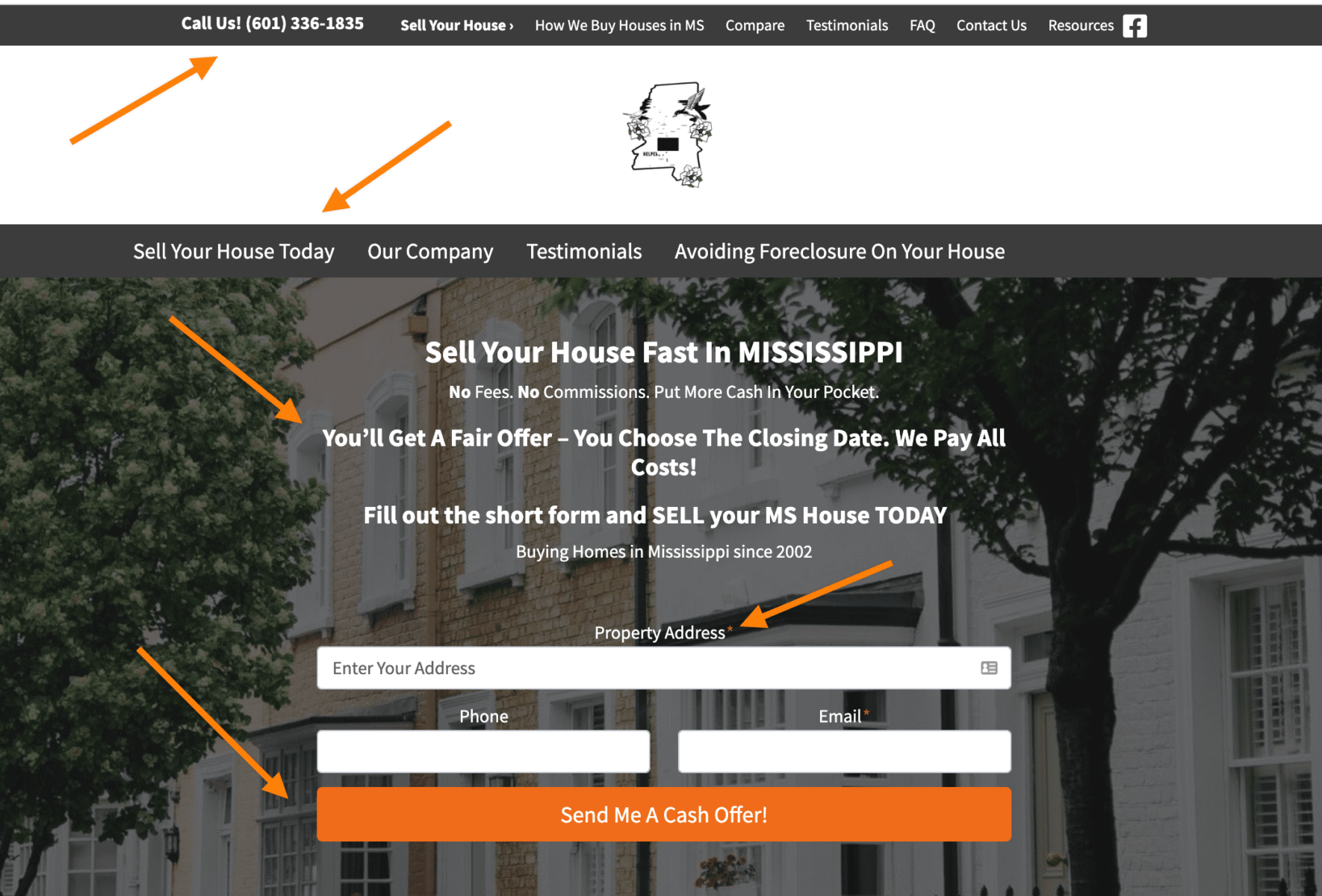 Carrot real estate investor website hero section