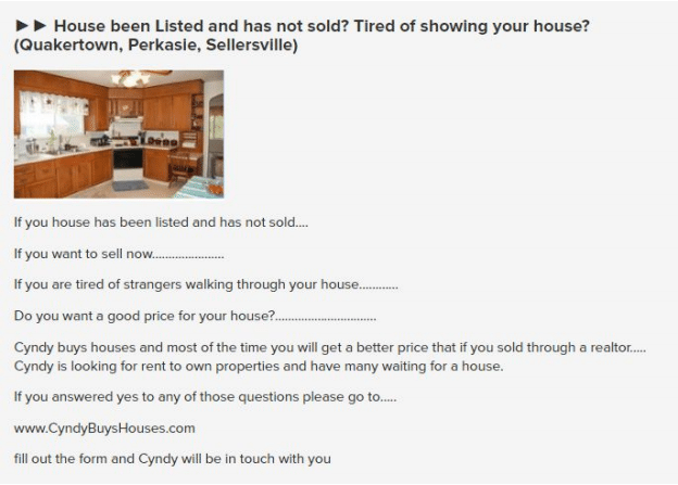 craiglist house listed