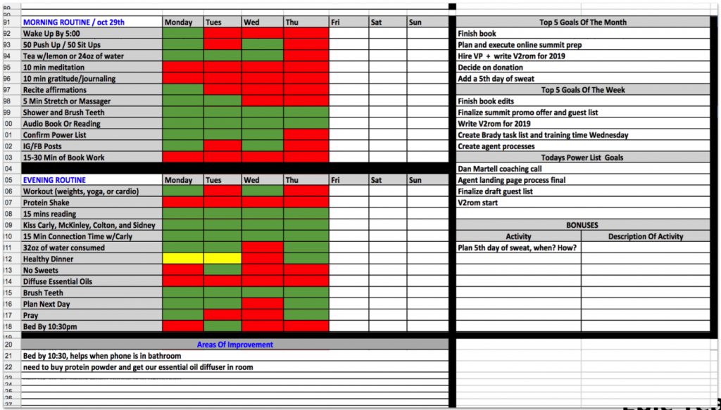 My personal Annual Planning daily habit sheet